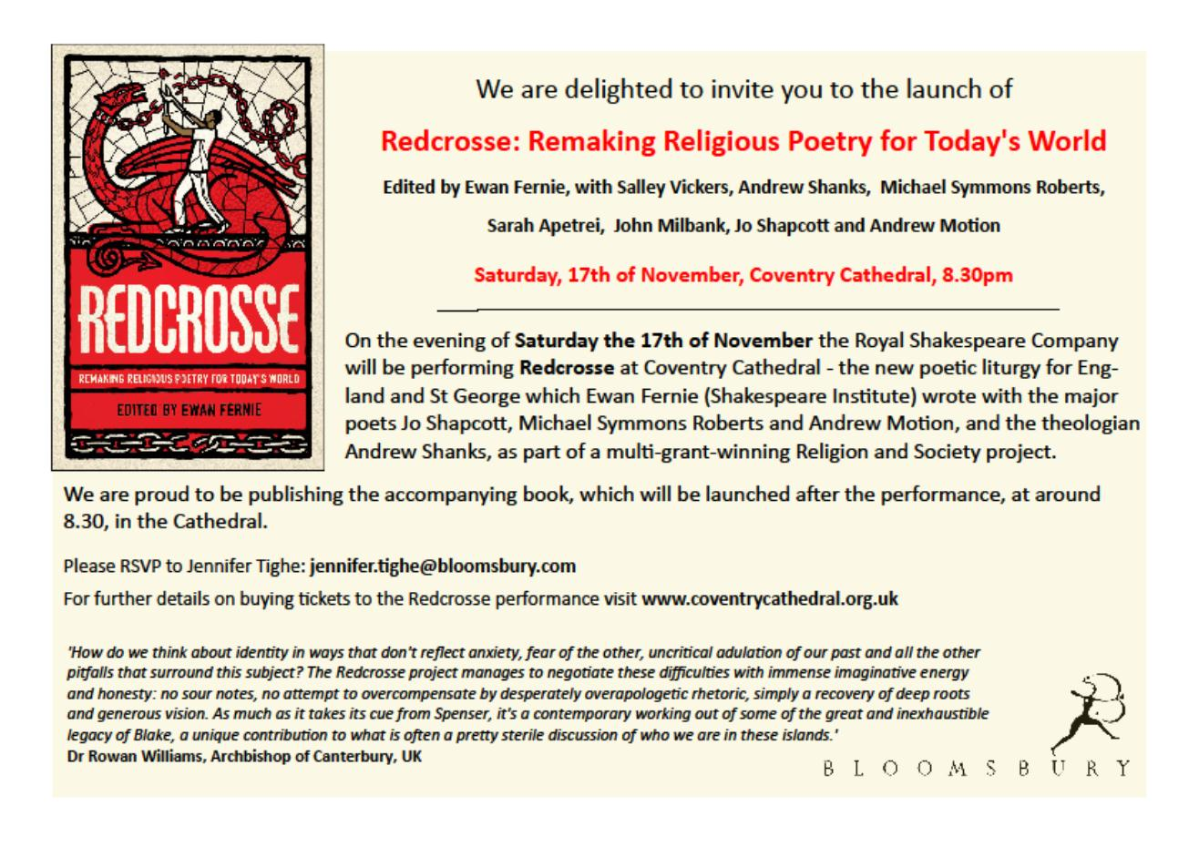 Bloomsbury literary studies events redcrosse book launch invitation fandeluxe